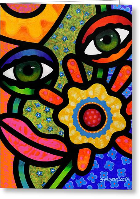 Abstract Faces Greeting Cards - An Eye on Spring Greeting Card by Steven Scott