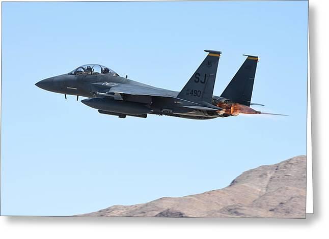 An F-15e Strike Eagle Taking Greeting Card by Riccardo Niccoli