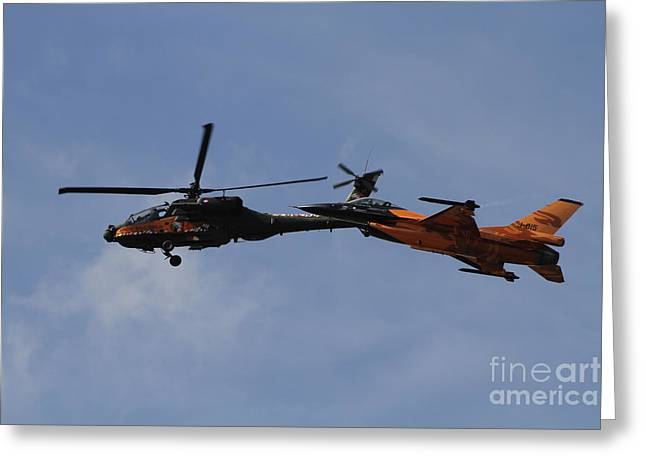 Cooperation Greeting Cards - An F-16 Falcon And Ah-64 Apache Greeting Card by Ofer Zidon