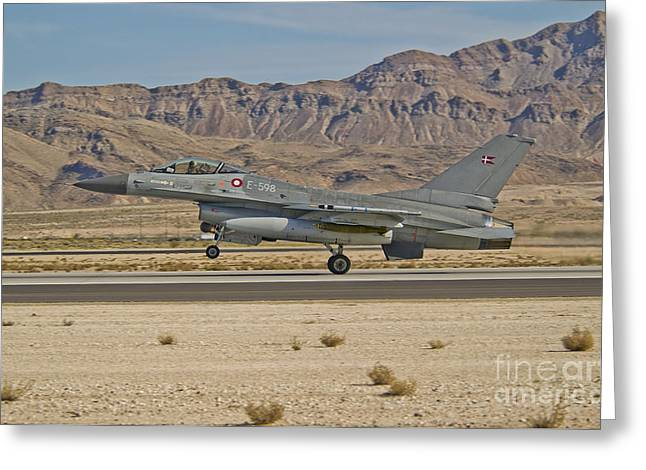 Danish Military Greeting Cards - An F-16a Fighting Falcon Of The Royal Greeting Card by Scott Germain