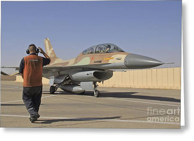 Foreign Military Greeting Cards - An F-16b Netz Of The Israeli Air Force Greeting Card by Ofer Zidon