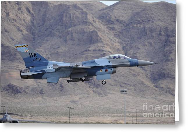 Aggressor Greeting Cards - An F-16c Falcon Of The 65th Aggressor Greeting Card by Remo Guidi