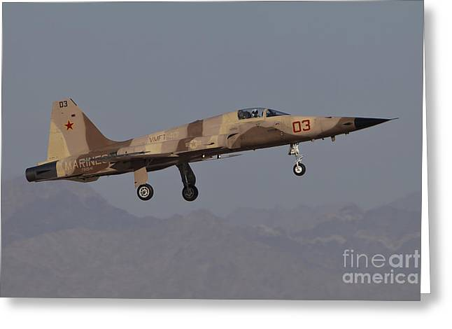 Aggressor Greeting Cards - An F-5n Aggressor Aircraft Of The U.s Greeting Card by Timm Ziegenthaler