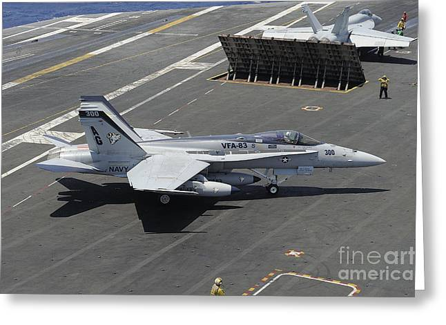 F-18 Greeting Cards - An Fa-18 Hornet Of The U.s. Navy Aboard Greeting Card by Remo Guidi