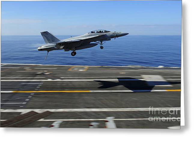 F-18 Greeting Cards - An Fa-18f Super Hornet Flies Greeting Card by Stocktrek Images