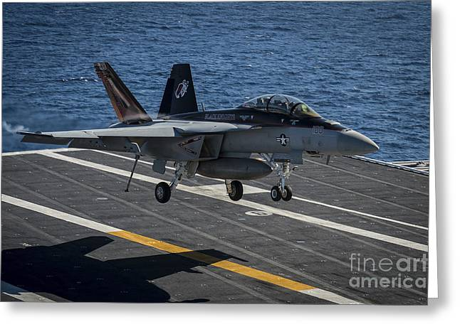 F-18 Greeting Cards - An Fa-18f Super Hornet Lands Greeting Card by Stocktrek Images