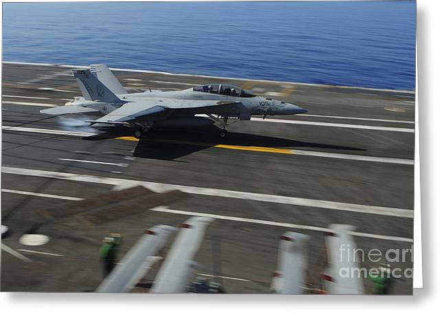 F-18 Greeting Cards - An Fa-18f Super Hornet Makes An Greeting Card by Stocktrek Images