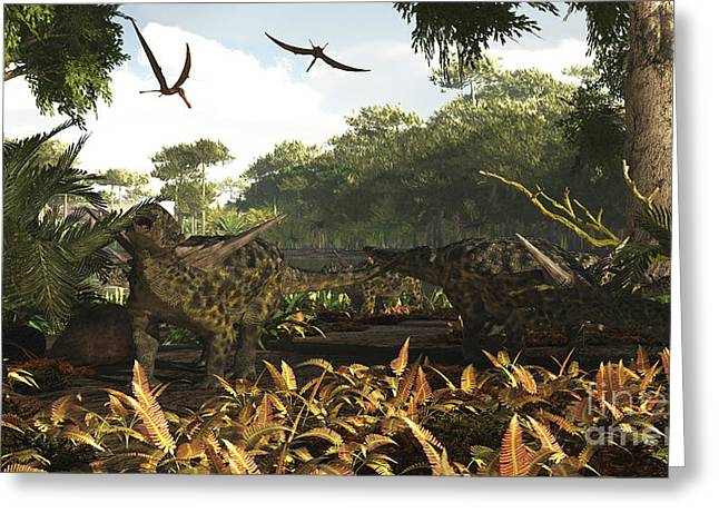 Triassic Greeting Cards - An Group Of Ankylosaurid Dinosaurs Greeting Card by Arthur Dorety