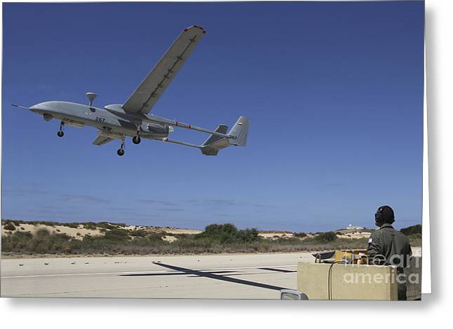 Foreign Military Greeting Cards - An Iai Heron Unmanned Aerial Vehicle Greeting Card by Ofer Zidon