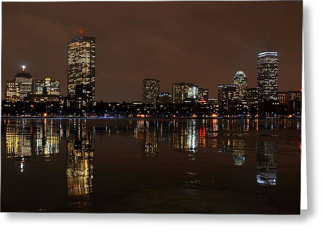 Charles Bridge Digital Greeting Cards - An icy night on the Charles River Greeting Card by Toby McGuire