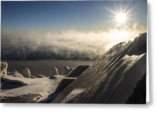 Cold Morning Sun Greeting Cards - An icy scene in the morning sun Greeting Card by Sven Brogren
