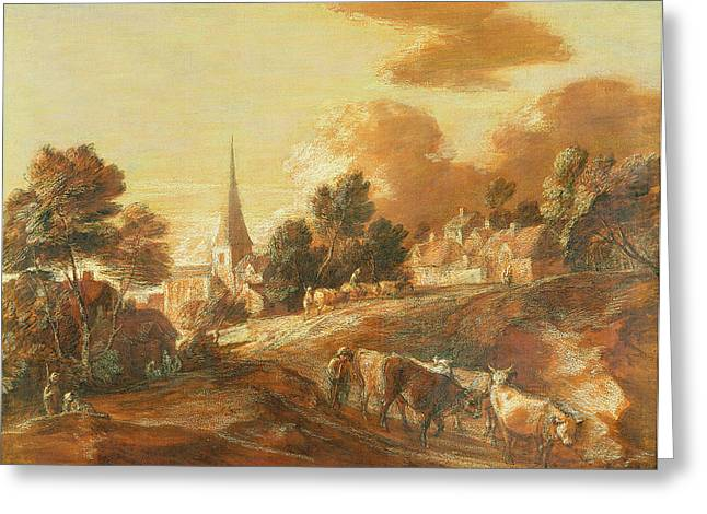 Imaginary Art Greeting Cards - An Imaginary Wooded Village with Drovers and Cattle Greeting Card by Thomas Gainsborough