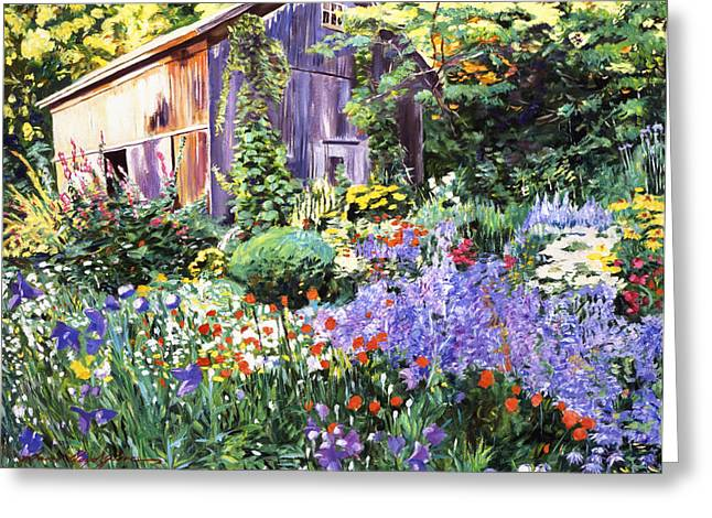 Architectural Elements Greeting Cards - An Impressionist Garden Greeting Card by David Lloyd Glover