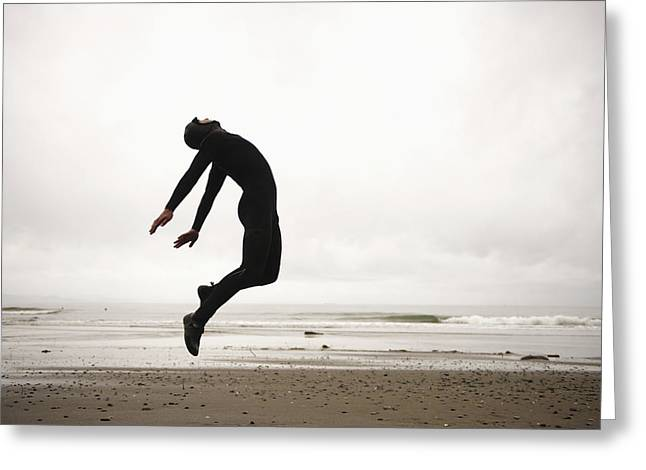 18-19 Years Greeting Cards - An Individual Wearing A Wet Suit Greeting Card by Helene Cyr