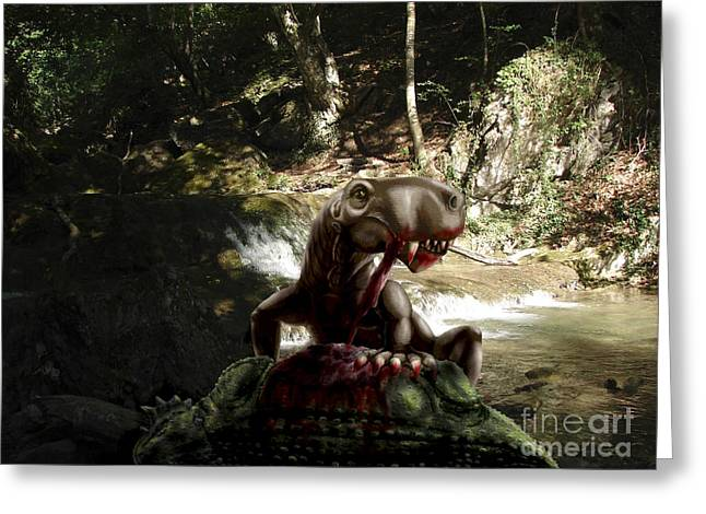 Armor Concept Greeting Cards - An Inostrancevia Eating The Flesh Greeting Card by Yuriy Priymak