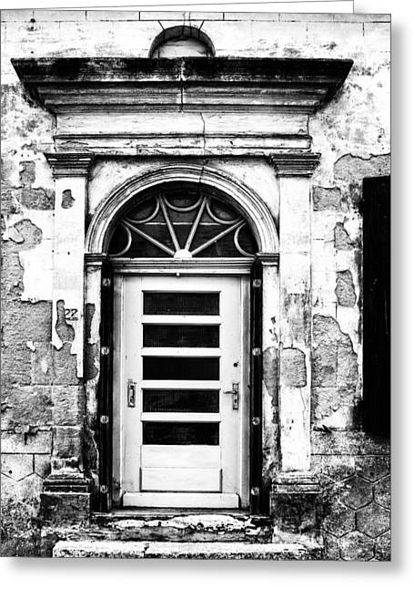 French Doors Greeting Cards - An Intriguing Door in Black and White Greeting Card by Nomad Art And  Design