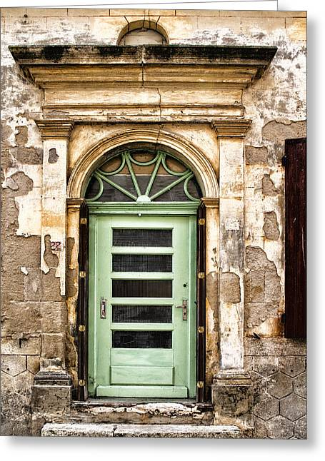 French Door Greeting Cards - An Intriguing Green Door Greeting Card by Nomad Art And  Design