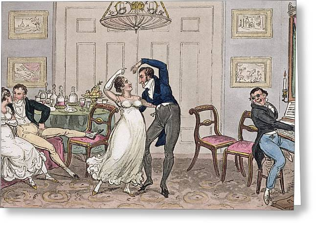 Dining Room Drawings Greeting Cards - An Introduction Gay Moments Of Logic Greeting Card by I. Robert & George Cruikshank