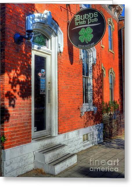 Brick Buildings Greeting Cards - An Irish Pub Greeting Card by Mel Steinhauer