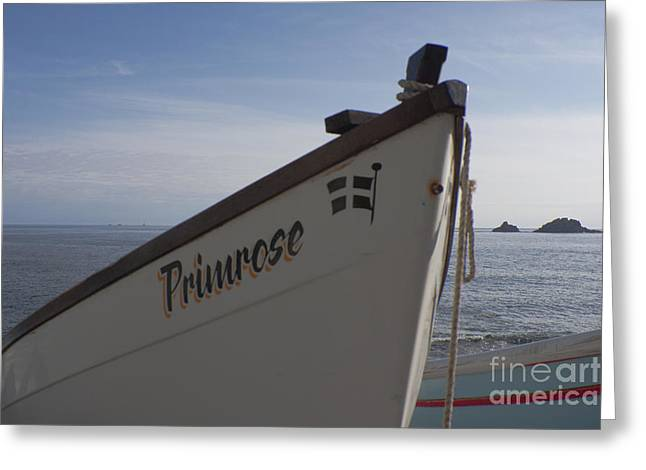 Cape Cornwall Greeting Cards - An Island a Lighthouse and a Boat Greeting Card by Terri  Waters