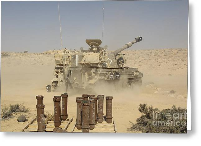 Battletank Greeting Cards - An Israel Defense Force Artillery Corps Greeting Card by Ofer Zidon