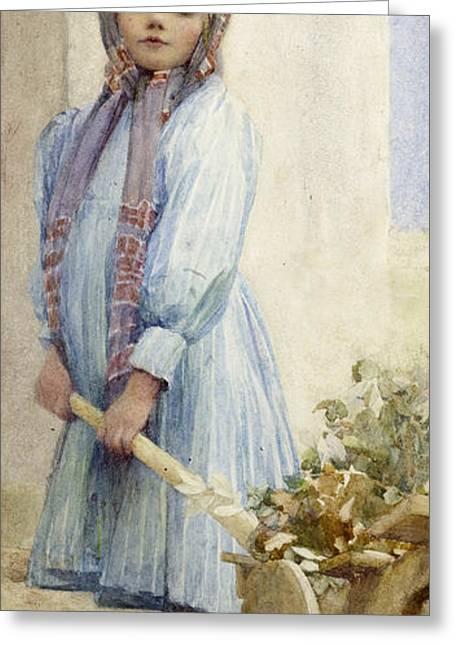 Twentieth Century Greeting Cards - An Italian Peasant Girl Greeting Card by Ada M Shrimpton