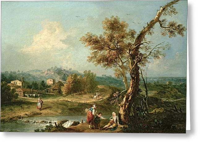 Washing Greeting Cards - An Italianate River Landscape With Travellers Greeting Card by Francesco Zuccarelli