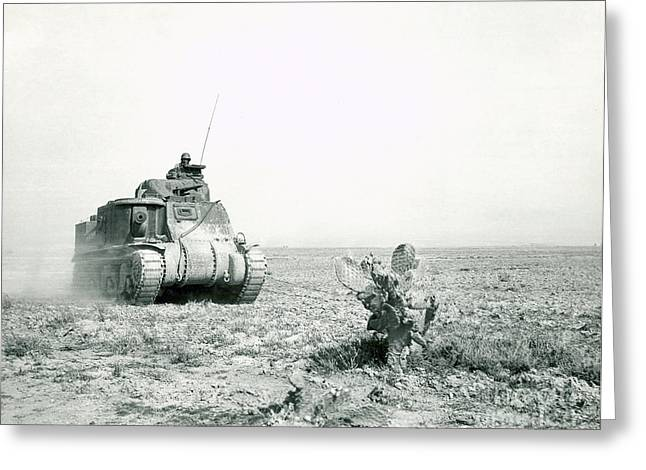 Us Army Tank Greeting Cards - An M3 Grant Tank On The Move Greeting Card by Stocktrek Images