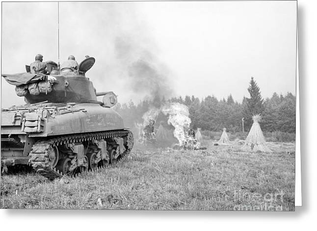 Us Army Tank Greeting Cards - An M4a3e8 76mm Armed Sherman Tank Greeting Card by Stocktrek Images