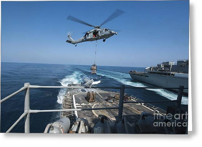 At Arrivals Greeting Cards - An Mh-60s Sea Hawk Brings Pallets Greeting Card by Stocktrek Images