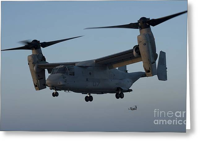 Flight Operations Photographs Greeting Cards - An Mv-22 Osprey Prepares To Land Greeting Card by Stocktrek Images