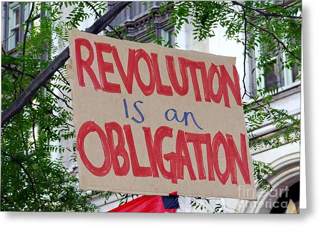 Occupy Greeting Cards - An Obligation Greeting Card by Ed Weidman
