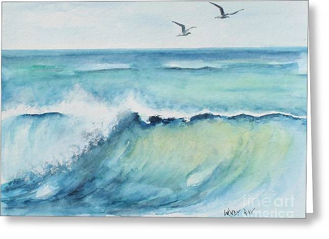 Flying Seagull Paintings Greeting Cards - An Oceans Wave Greeting Card by Wendy Ray