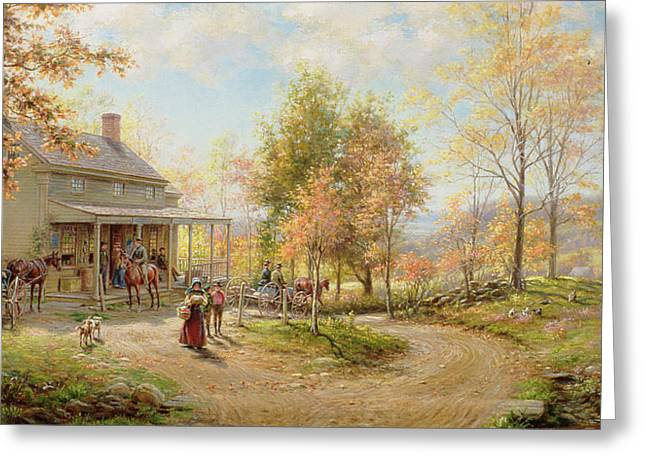 Postal Paintings Greeting Cards - An October Day Greeting Card by Edward Lamson Henry