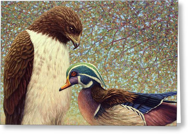James Paintings Greeting Cards - An Odd Couple Greeting Card by James W Johnson