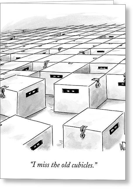 An Office  Full Of Locked Boxes With Eyes Looking Greeting Card by Christopher Weyant