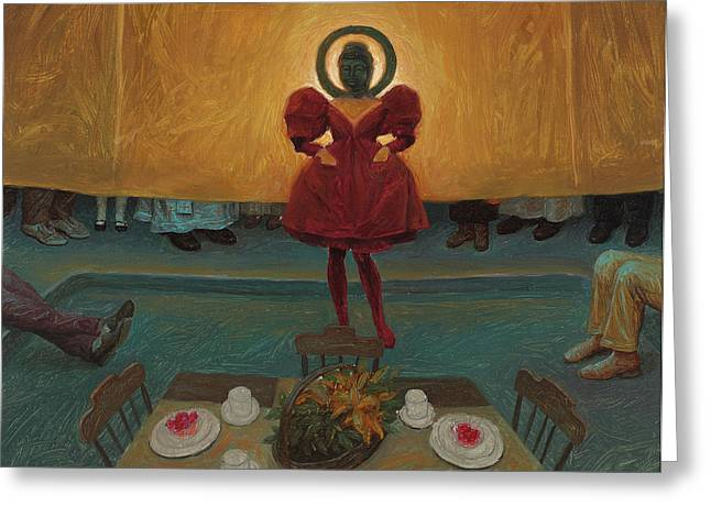Red Dress Greeting Cards - An oil study for Buddha in Red Greeting Card by Alfredo Arcia
