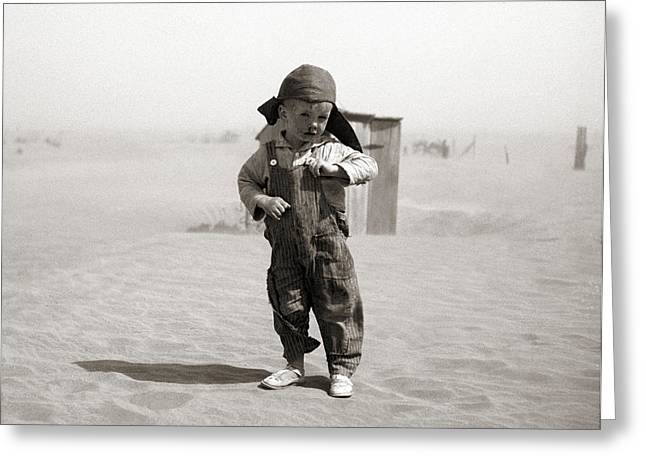Oklahoman Greeting Cards - An Oklahoman boy during a dust storm Greeting Card by Celestial Images