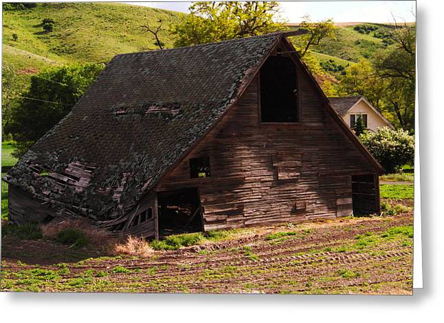 Old Relics Greeting Cards - An old barn falling in Greeting Card by Jeff  Swan