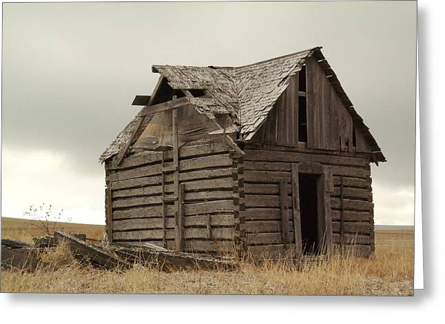 Old Wood Cabin Greeting Cards - An Old Cabin In Eastern Montana Greeting Card by Jeff  Swan