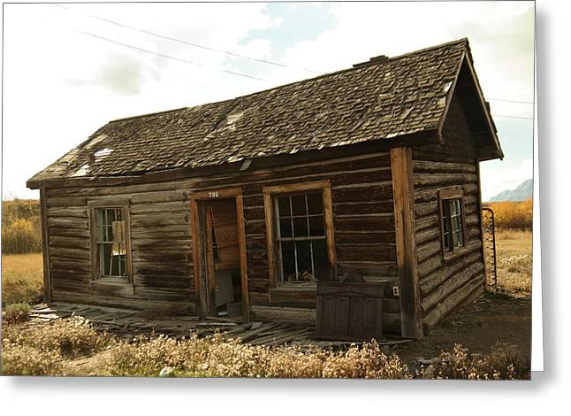 Old Relics Greeting Cards - An old cabin Greeting Card by Jeff  Swan