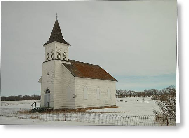 Old Relics Greeting Cards - An Old Church In North Dakota Greeting Card by Jeff  Swan