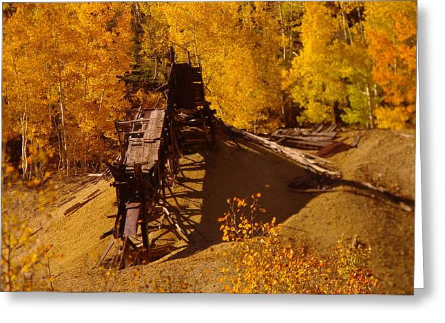 Old Mine Greeting Cards - An Old Colorado Mine In Autumn Greeting Card by Jeff  Swan