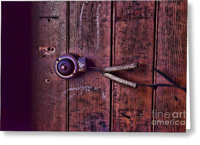 Doorbell Greeting Cards - An old doorbell Greeting Card by Paul Ward