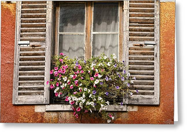 French Windows Greeting Cards - An Old French Window Greeting Card by Olivier Le Queinec