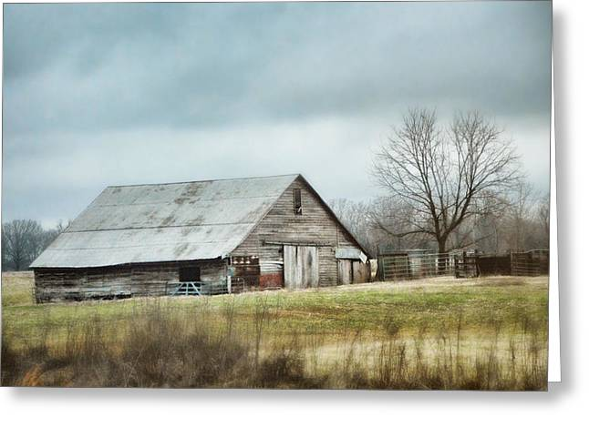 An Old Gray Barn Greeting Card by Jai Johnson