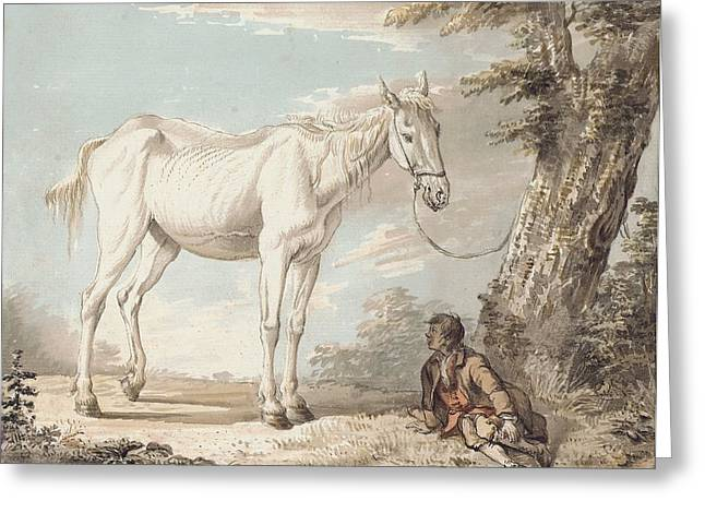 Hooved Mammal Greeting Cards - An Old Grey Horse Tethered to a Tree A Boy Resting Nearby Greeting Card by Paul Sandby
