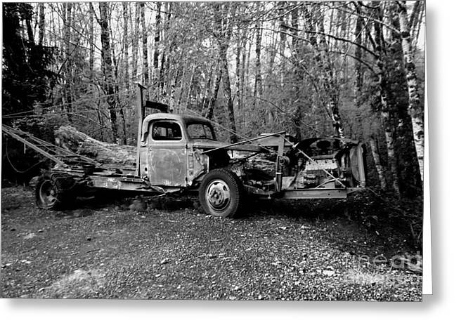 Old Trucks Greeting Cards - An Old Logging Boom Truck In Black And White Greeting Card by Jeff  Swan
