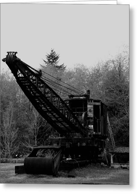 Manufacturing Greeting Cards - An Old Logging Crane In Black And White Greeting Card by Jeff  Swan