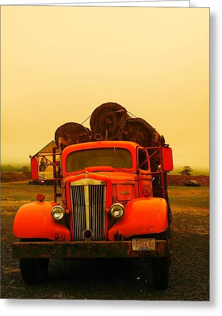 Old Relics Greeting Cards - An Old Logging Truck Greeting Card by Jeff  Swan